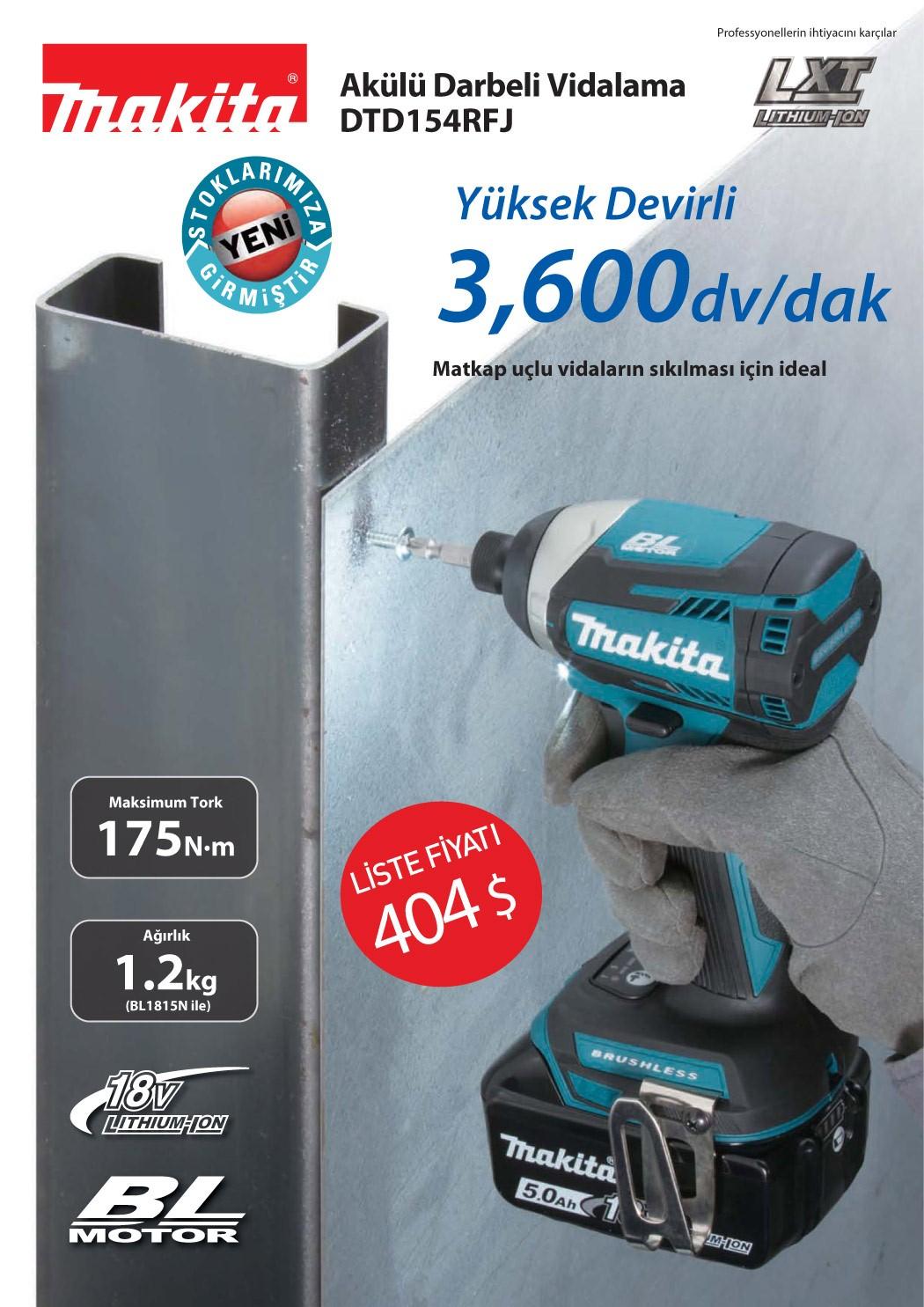 Yeni Ürün -  Makita DTD154RFJ Akülü Darbeli Vidalama Stoklarımıza Girmiştir